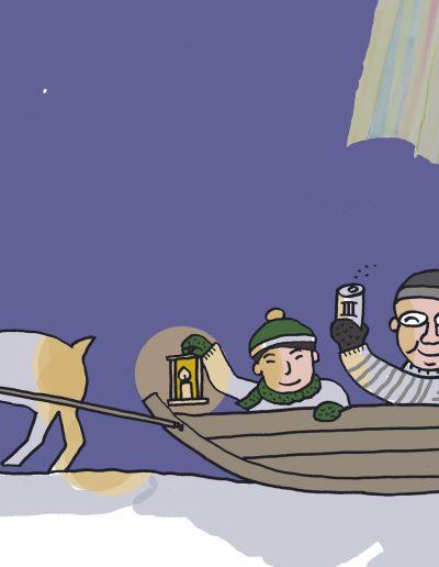 Pororeellä Lapissa/By reindeer sled in Lapland/トナカイ橇で行くラップランドの夜